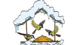Birdfeeder in winter forest. Vector handdrawn illustration